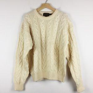 Vintage Eddie Bauer cream cable knit wool sweater